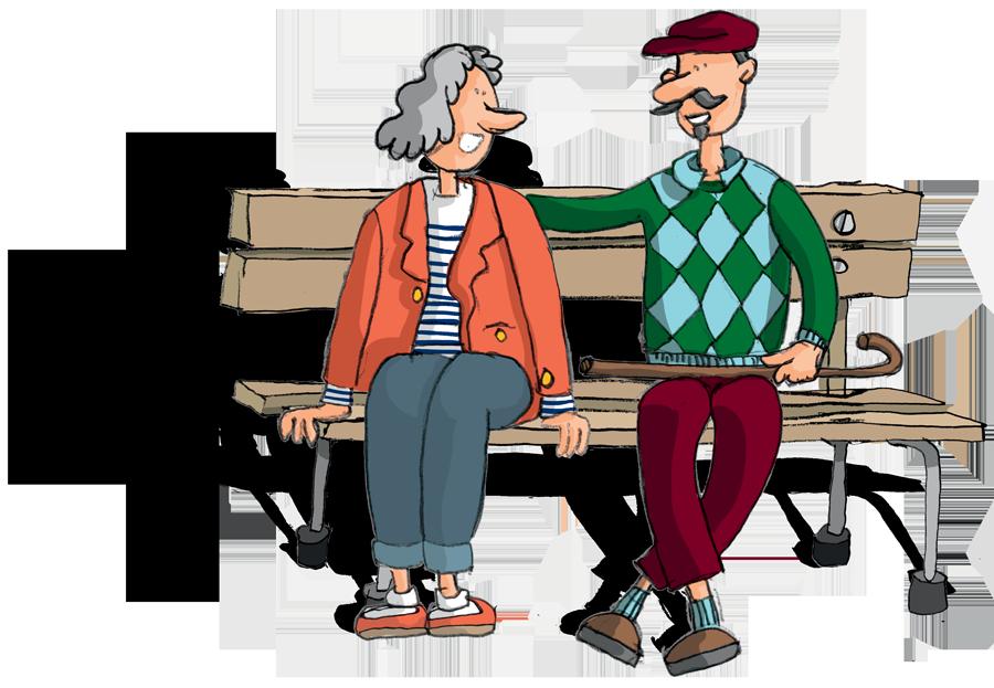 Personnes âgées sur un banc